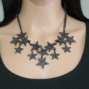 INC International Concepts Gunmetal Stars Necklace